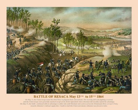 Fine art print of the American Civil War of the Battle of Resaca May 13th to 15th 1864